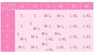 グラマラスナイトブラプラス-サイズ表